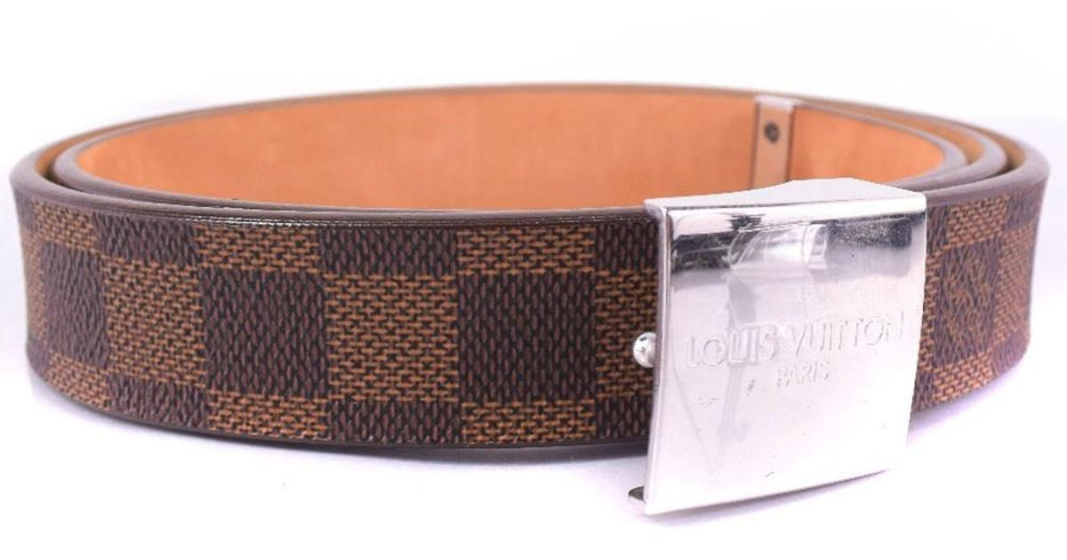 86a024e2dc85 Lyst - Louis Vuitton M6801 Damier Canvas Brown Belt Mens in Brown for Men