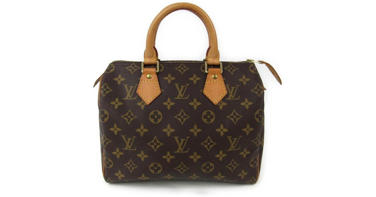 3d6d8ad01100 Lyst - Louis Vuitton Speedy 25 Hand Bag Monogram Canvas M41528 in Brown