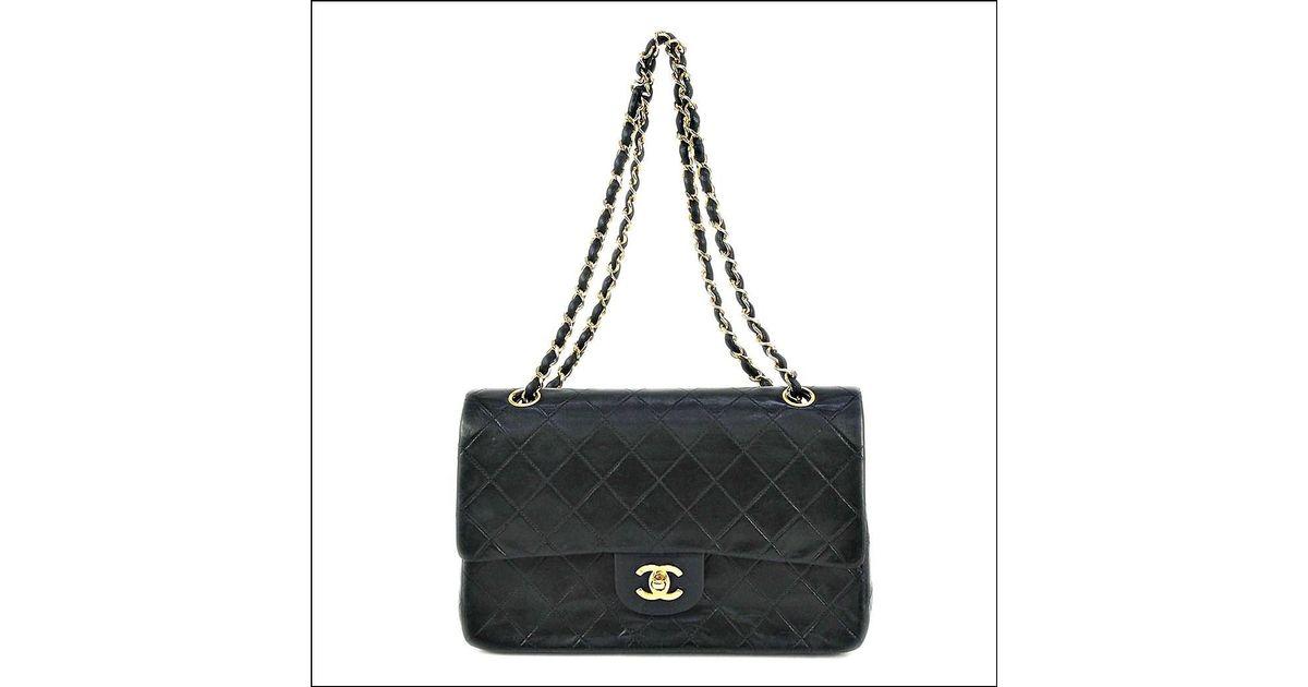 eabc8794bee5c Lyst - Chanel Bag Matelasse 25 W Chain Shoulder Lamb Skin Black A01112 Used  (ab) in Black