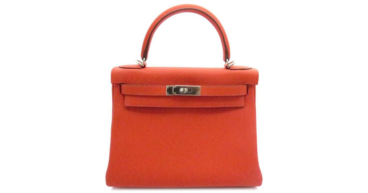 1be52bcd6501 ... top quality lyst hermès kelly 28 retourne capucine togo phw stamp t in  orange 31906 340dd