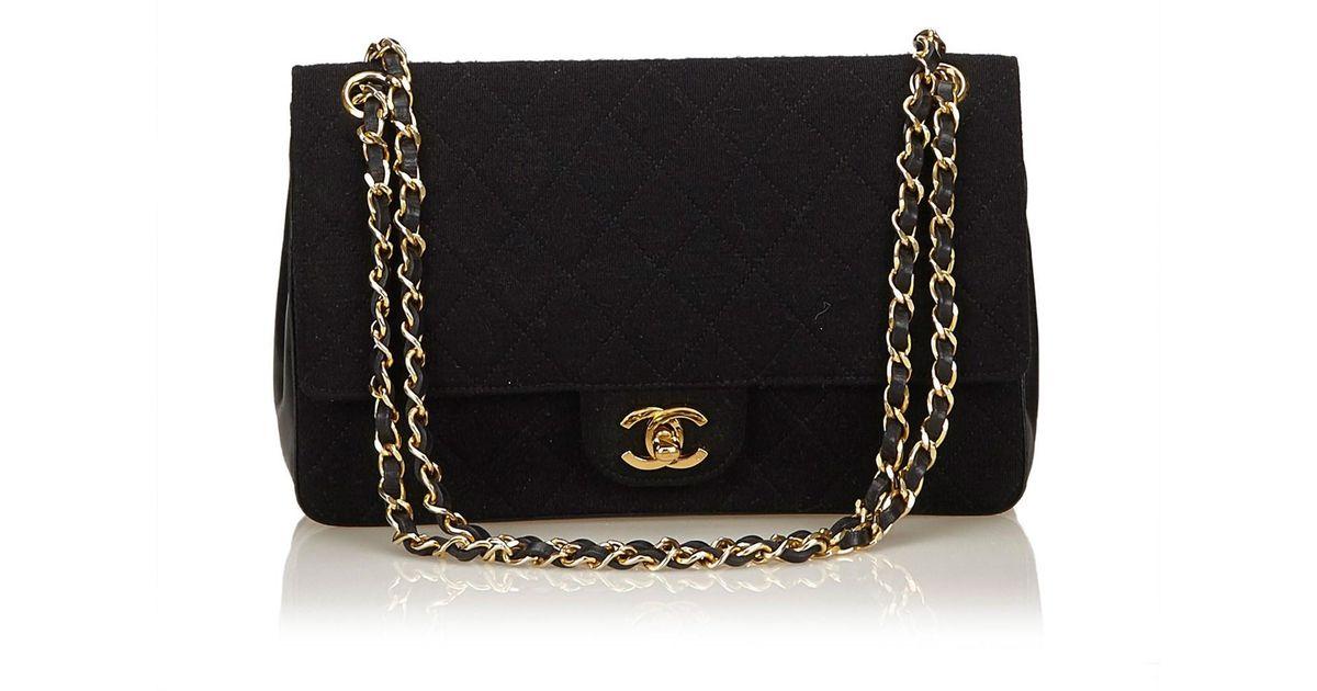 1923fe52b5d2 Lyst - Chanel Classic Medium Cotton Double Flap Bag in Black
