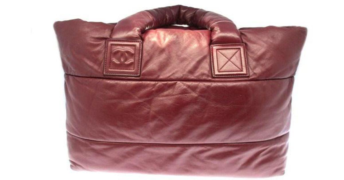 7af948fe3fd5 Lyst - Chanel Auth Calfskin Leather Tote Bag Handbag Dark Red in Red
