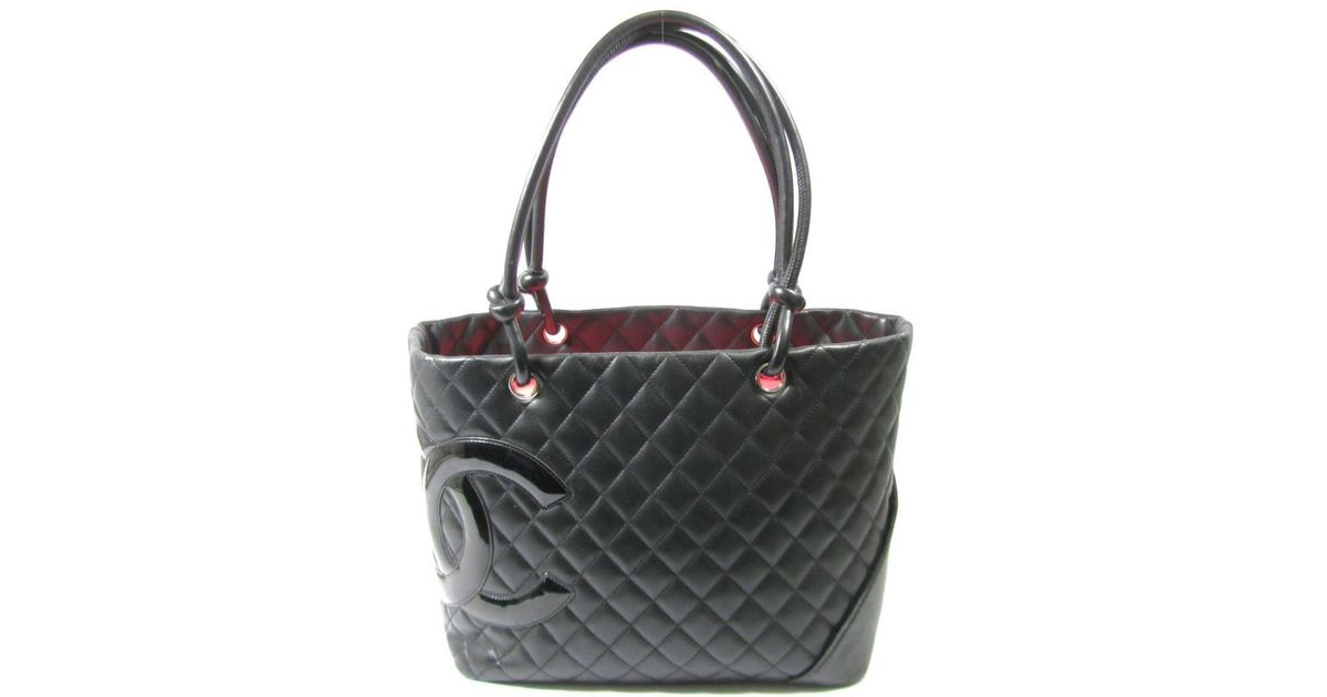 93ba82927a Chanel Cambon Line Large Tote Cc Shoulder Bag Lambskin Enamel Leather Black  Pink in Black - Lyst