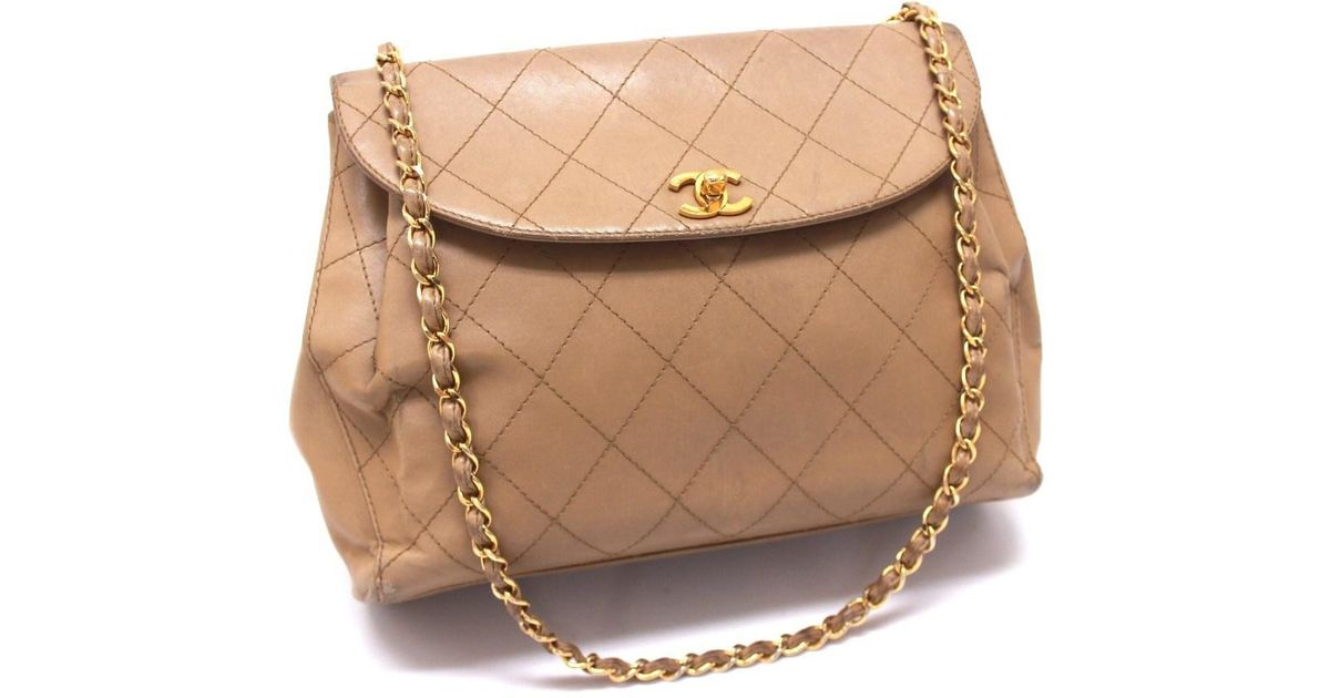 29868a983990 Lyst Chanel Quilted Leather Chain Shoulder Bag Beige In Natural