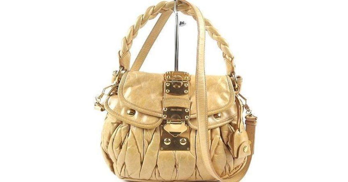 Lyst - Miu Miu Miumiu Matelasse Shoulder Bag Leather 100% Authentic From  Japan in Metallic 159dcf64fcc96