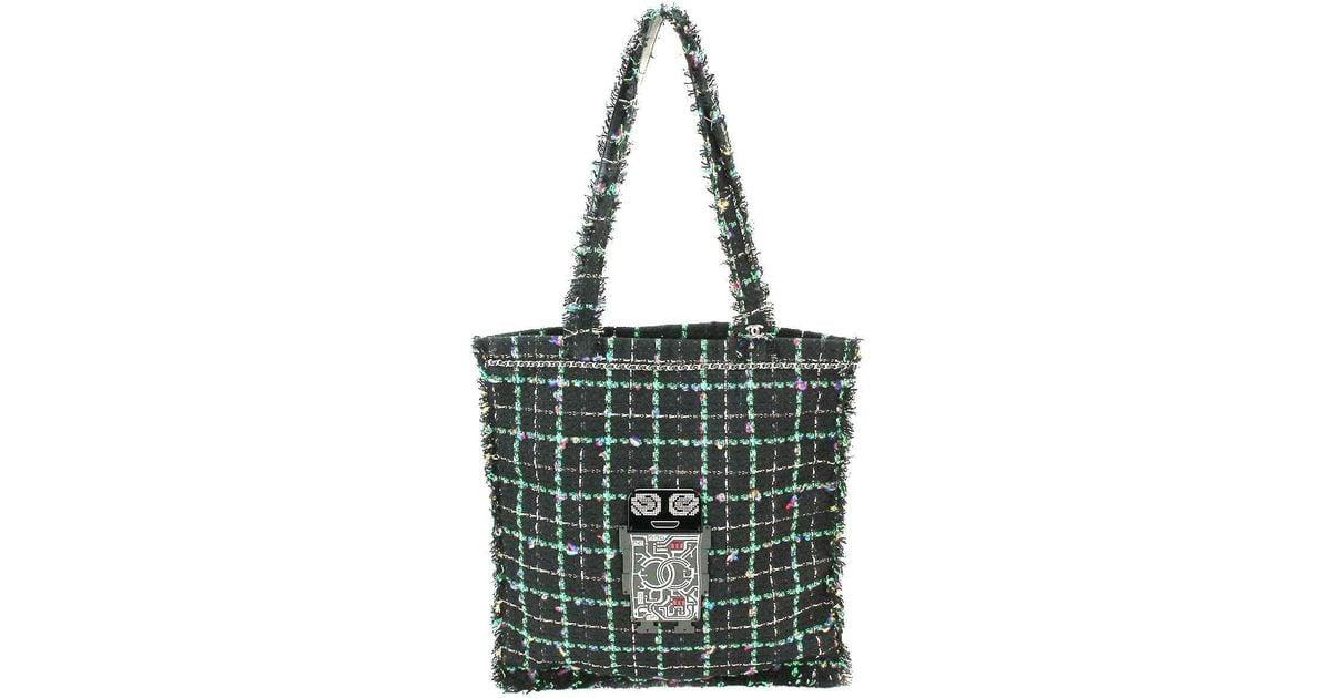 af9d1a3ca41cba Chanel Robot Shoulder Tote Bag Tweed Black Green Multi Color Cc 90038102..  in Black - Lyst