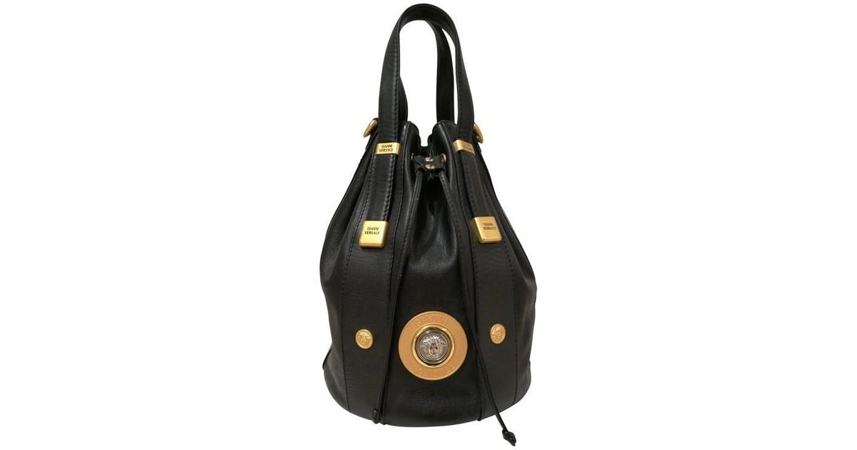 Lyst - Versace Gianni Black Leather Gold And Silver Tone Studs Satchel -  Shoulder Bag in Black f284df8adc
