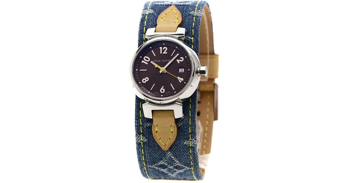 9aa2d8ab870d Lyst - Louis Vuitton Tambour Watches Q1211 Stainless Steel monogram Denim  Women in Metallic