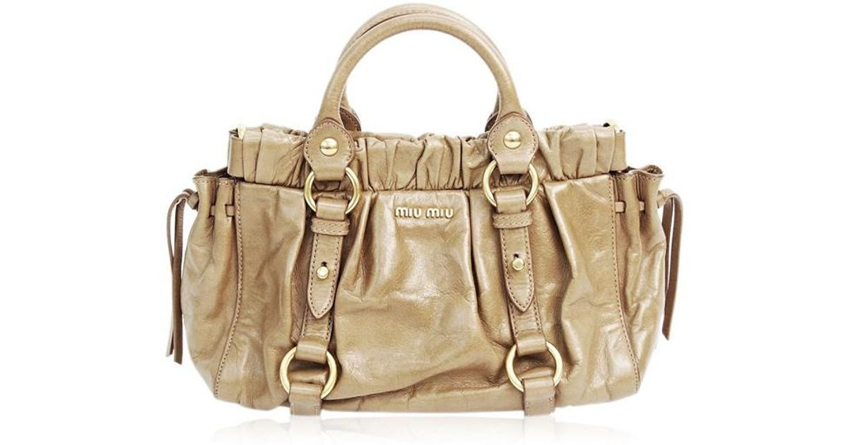 f9c74a4912a7 Lyst - Miu Miu Hand Bag Vitello Lux 2 Way Shoulder Leather Sughero Light  Brown Rn0647 Used (ab) in Brown