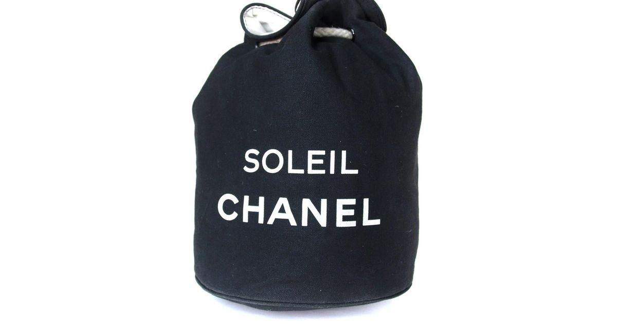 6c66b88e36646e Chanel Soleil Black Cotton Canvas Drawstring Backpack Bag in Black - Lyst