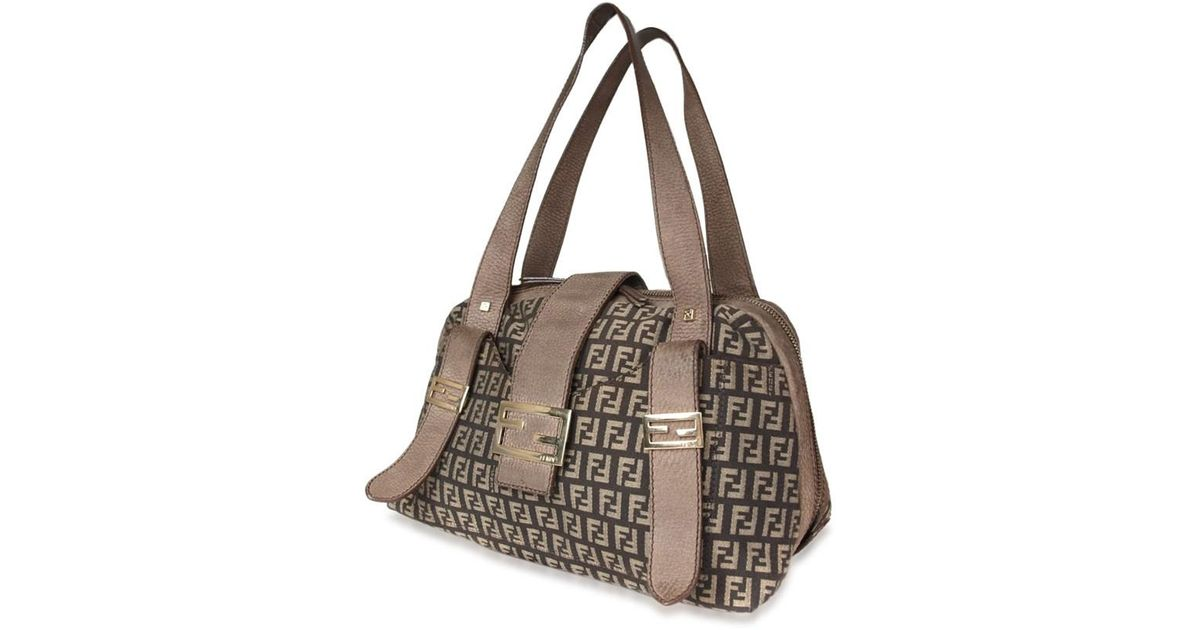 Lyst - Fendi Authentic Zucca Canvas Leather Brown Shoulder Bag in Brown 996f1fd58a2b7
