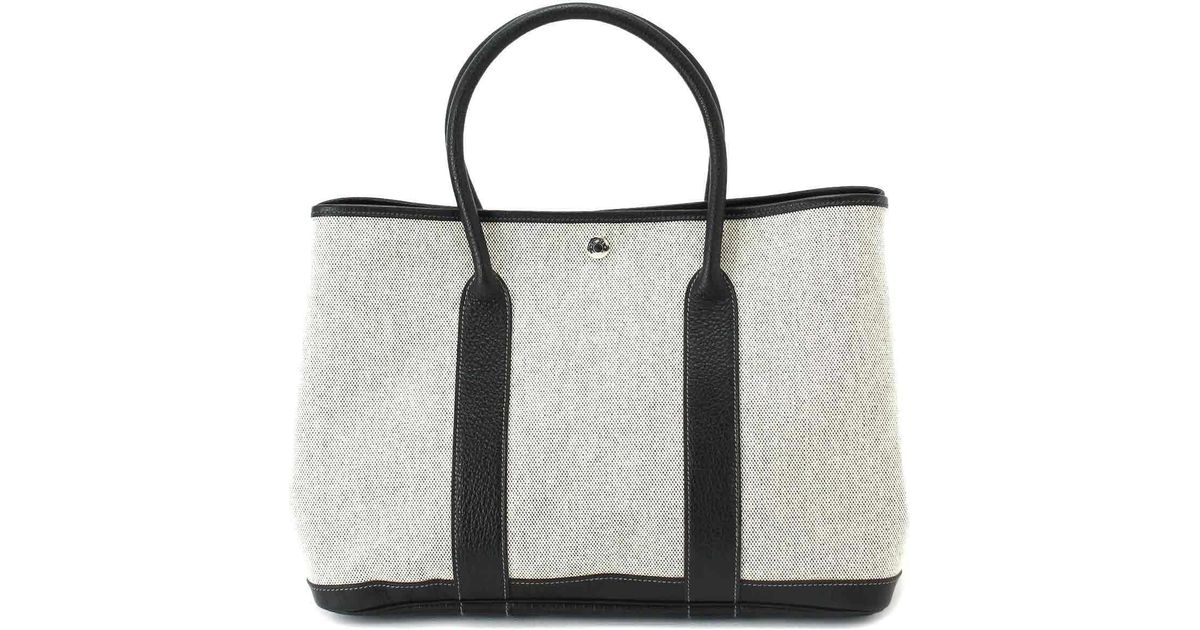 046ad45a2376 Lyst - Hermès Garden Party 36 Pm Hand Tote Bag Toile H Leather Gray Black  90041311.. in Black