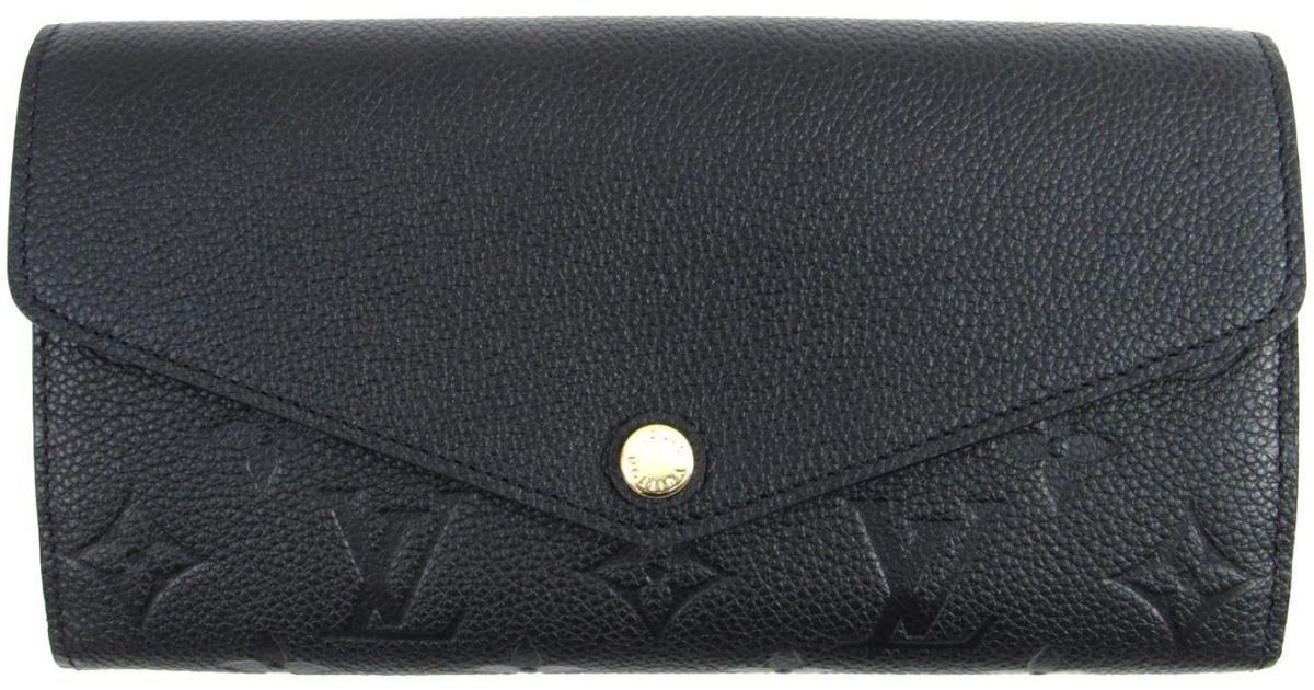 2dc99e2efece Lyst - Louis Vuitton Portefeiulle Sarah Wallet M61182 Monogram Empreinte  Leather Black in Black
