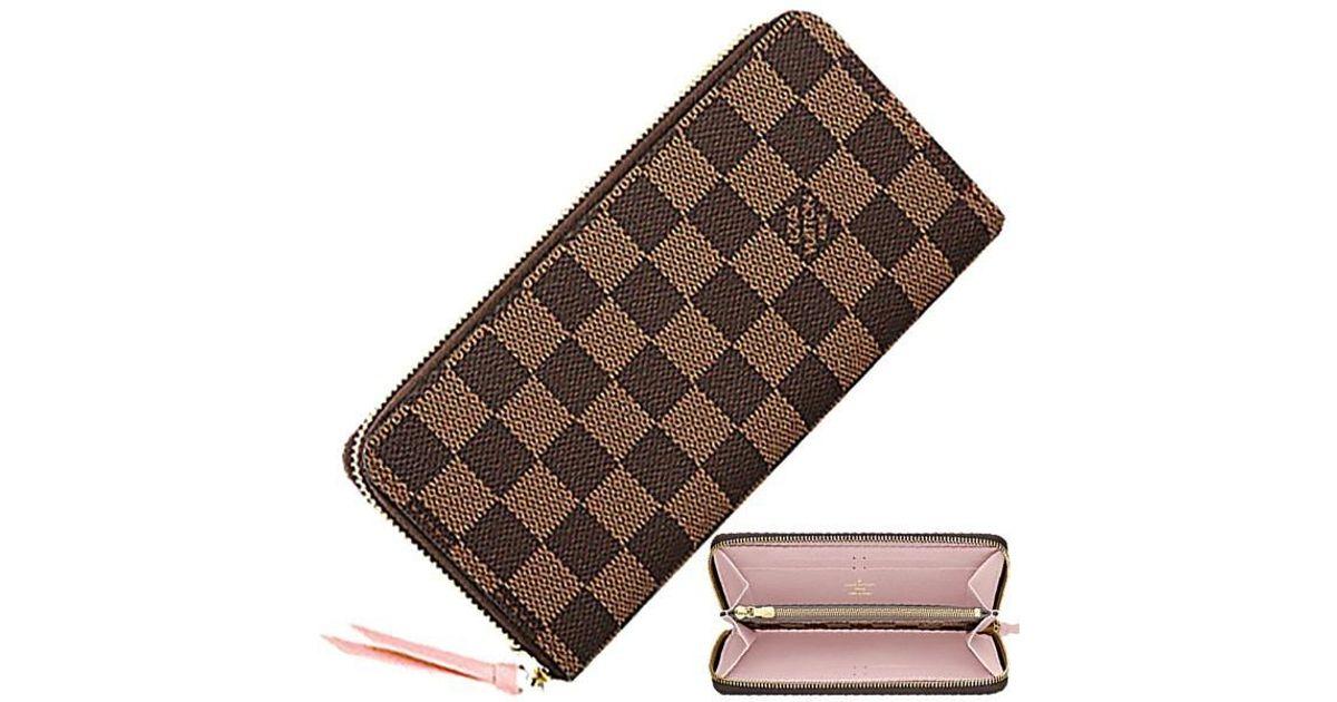 5af7d53dc2d2 Lyst - Louis Vuitton Portefeuille Clemence Damier Rose Valerien Round Zip Long  Wallet  new  in Brown