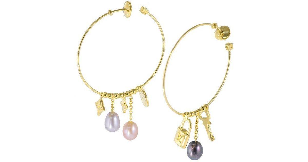 05e833657cb Lyst - Louis Vuitton Monogram Freshwater Cultured Pearl Hoop Earrings 18k  70185763.. in Metallic