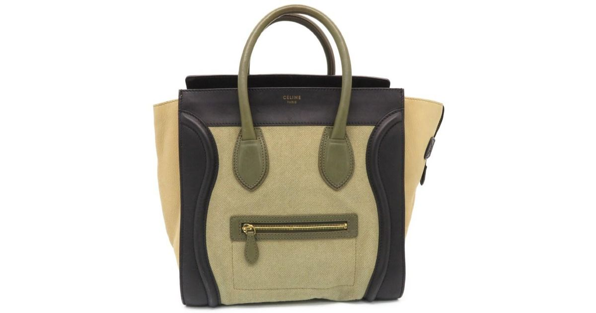 13843527ee Lyst - Céline Mini Luggage Hand Tote Bag Calfskin Canvas Beige Black 6404
