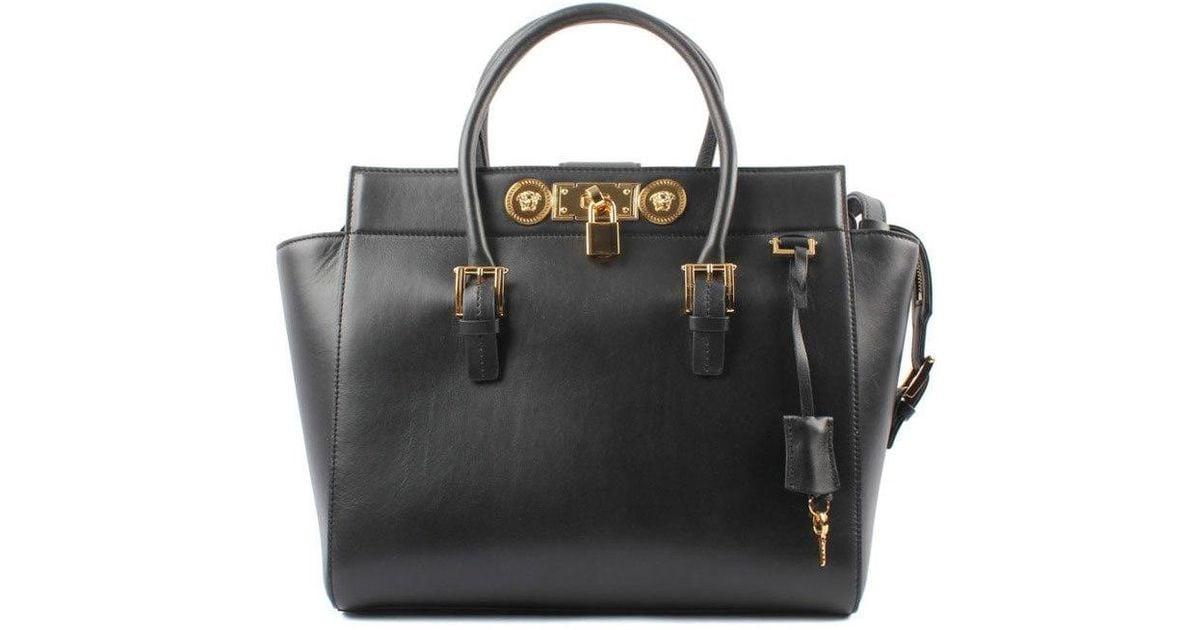 30b38eab54f2 Lyst - Versace Large Signature Lock Handbag in Black