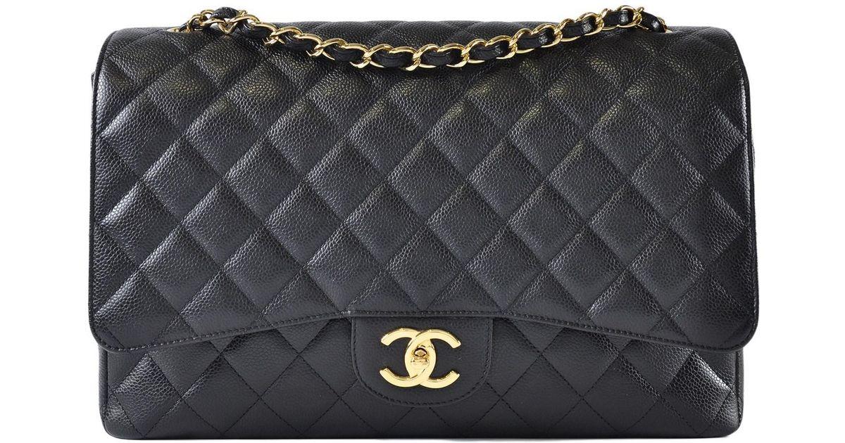 17670b5a01a563 Chanel Maxi Jumbo Caviar Classic Flap In Black Ghw in Black - Lyst