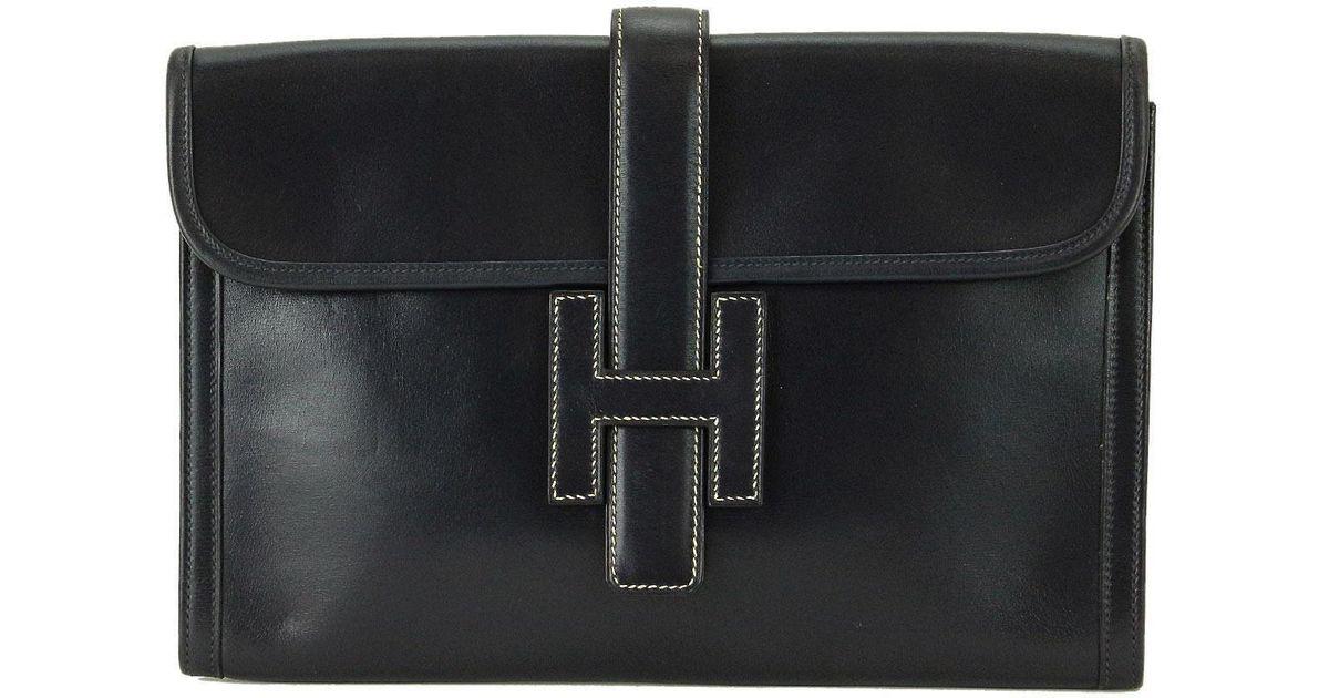 23c15e4d91b2 Lyst - Hermès Jige 29 Pm Clutch Bag Box Calf Leather Navy 90022363.. in Blue