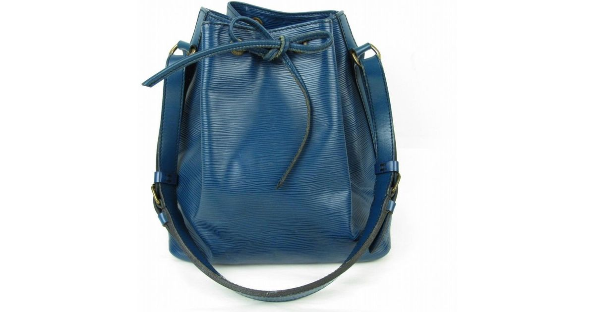 6392c323afe7 Lyst - Louis Vuitton Petit Noe Shoulder Bag Epi Leather Toledo Blue M44105  in Blue