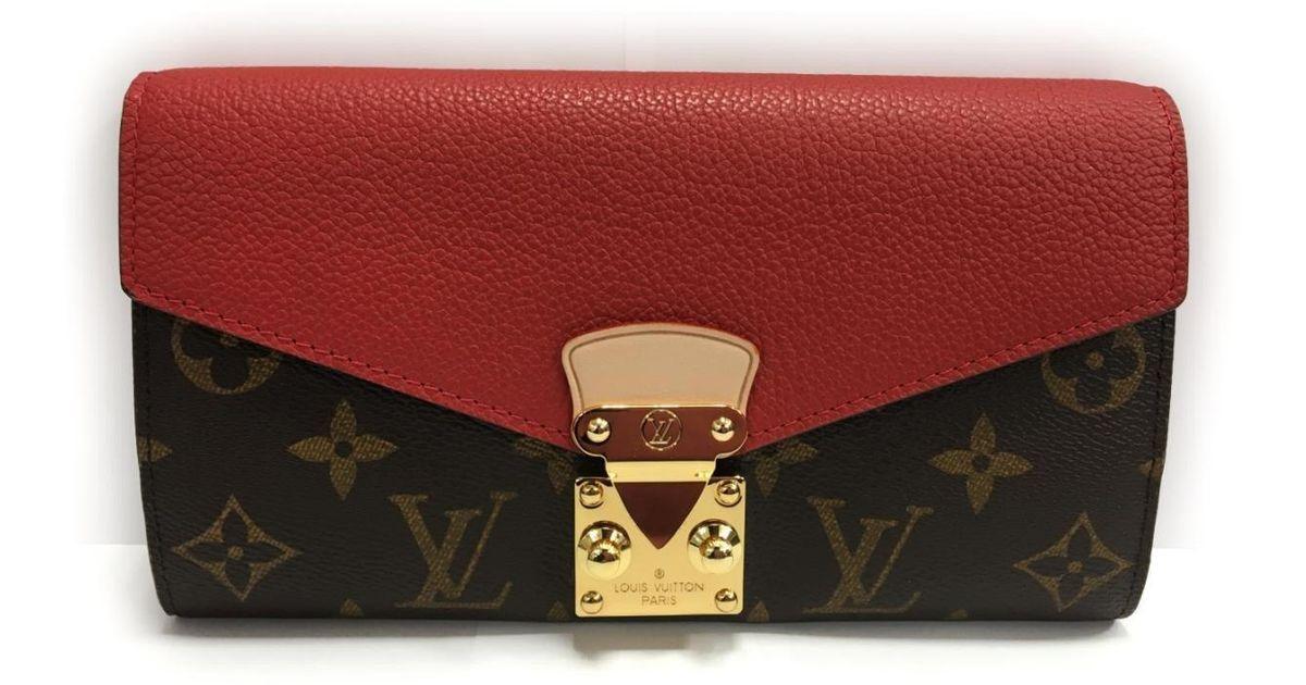 Lyst - Louis Vuitton Portefeuille Pallas Long Wallet Monogram Canvas Red  M58414 in Red 789d3b51ce2