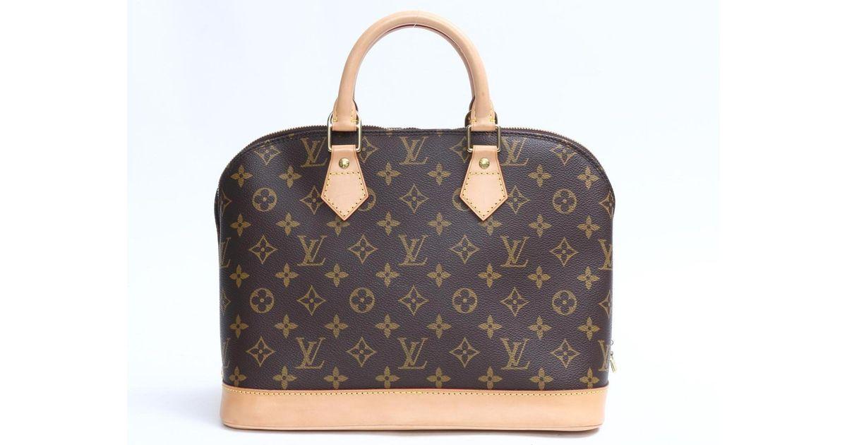 5c6f1fa91505 Lyst - Louis Vuitton Alma Handbag Monogram Canvas M51130 Fl0021 in Brown