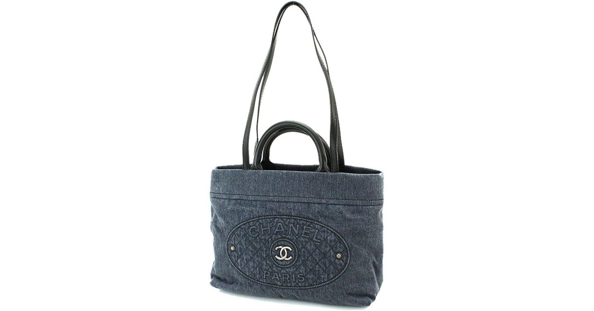 4649e4600f91 Lyst - Chanel Denim 2way Hand Tote Bag Blue Black Leather Vintage A93373  90048011.. in Blue