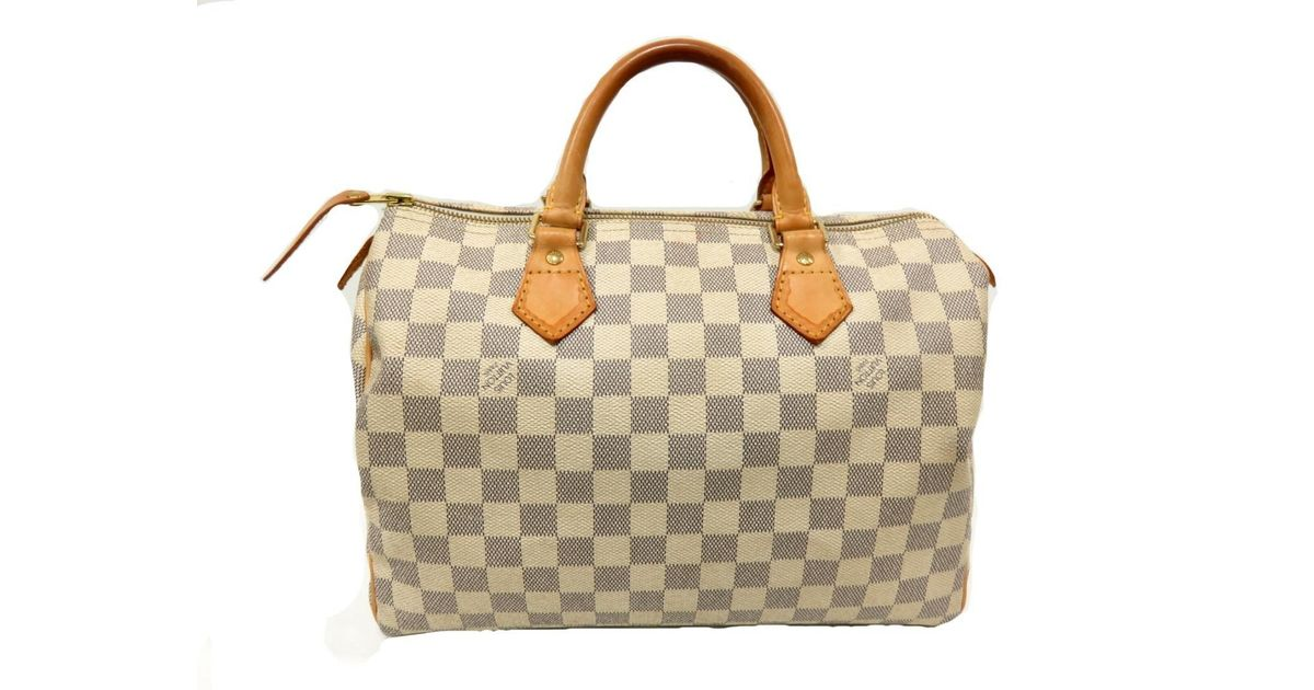 60c4400caaf4 Lyst - Louis Vuitton Speedy 30 Boston Hand Bag N 41533 Damier Azur Canvas  in White