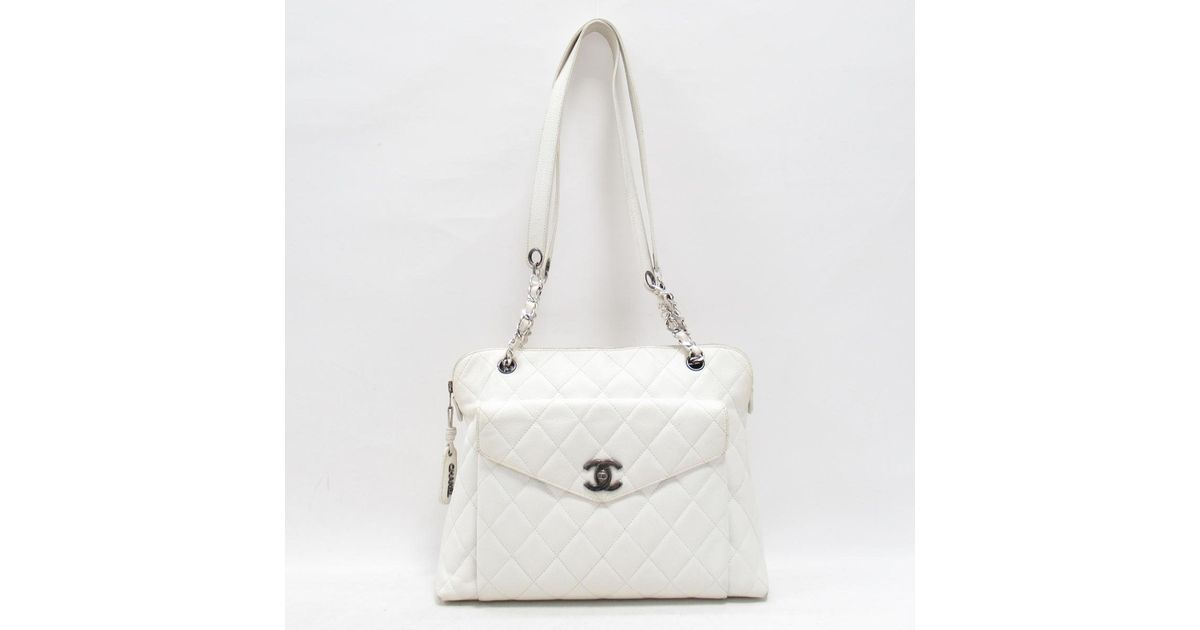 7240f17f5153 Chanel Authentic Matelasse Shoulder Bag Caviar Skin Leather White Used  Vintage in White - Lyst