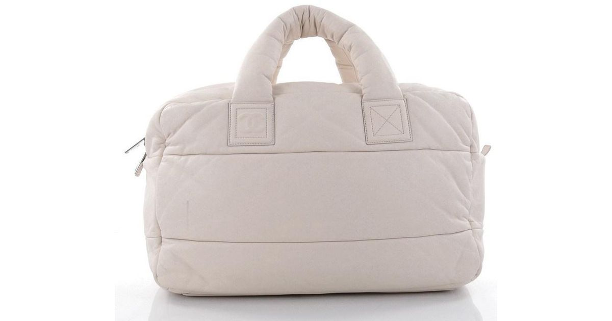 908d00cbb154 Lyst - Chanel Coco Cocoon Bowling Bag Quilted Lambskin Large in White