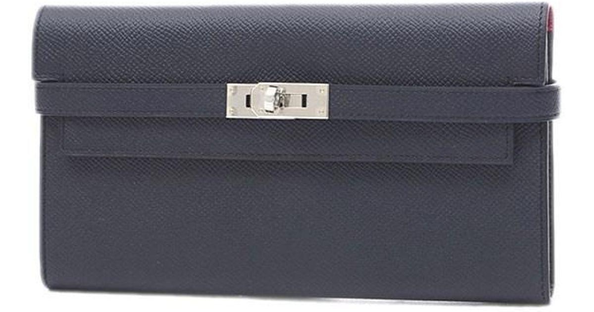 a11d5d75b8d8 Lyst - Hermès Kelly Wallet Epson Blue Indigo   Rose Purple Silverhardware A  Marking in Blue