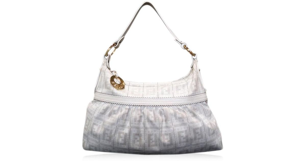 Lyst Fendi One Shoulder White Handbags Perforated Leather Bag In