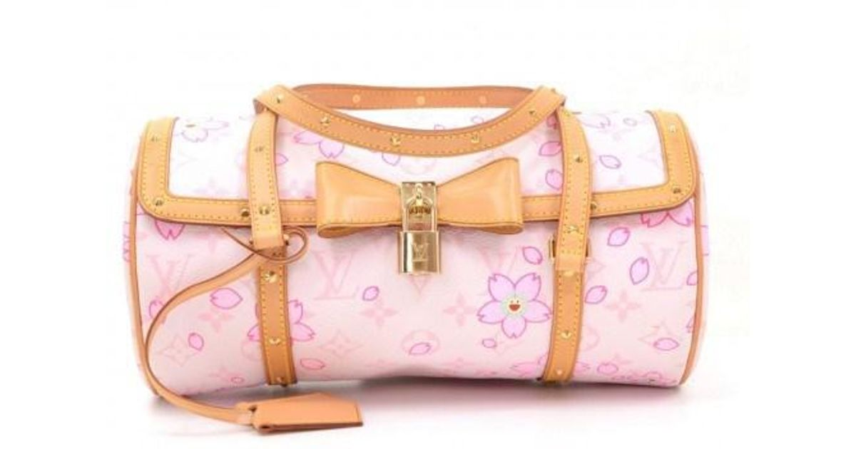 f67f20a7188 Lyst - Louis Vuitton Cherry Blossom Papillon White Monogram Canvas Murakami  Hand Bag in Pink