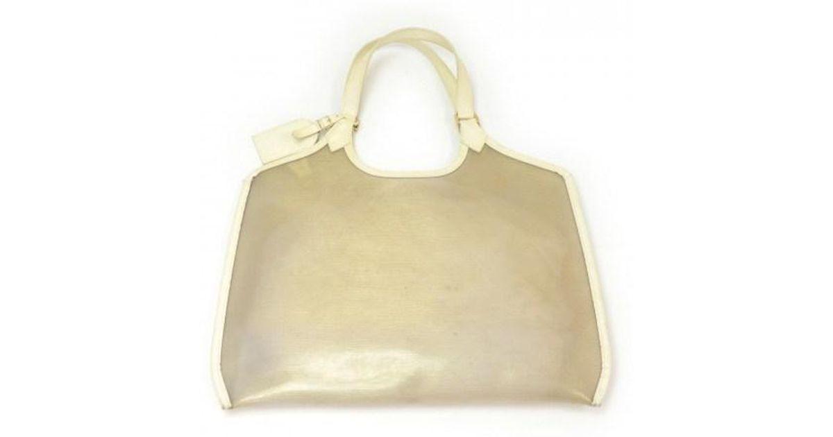 e7933b2d02 Lyst - Louis Vuitton Plague Lagoon White Vinyl Beach Tote Hand Bag in White