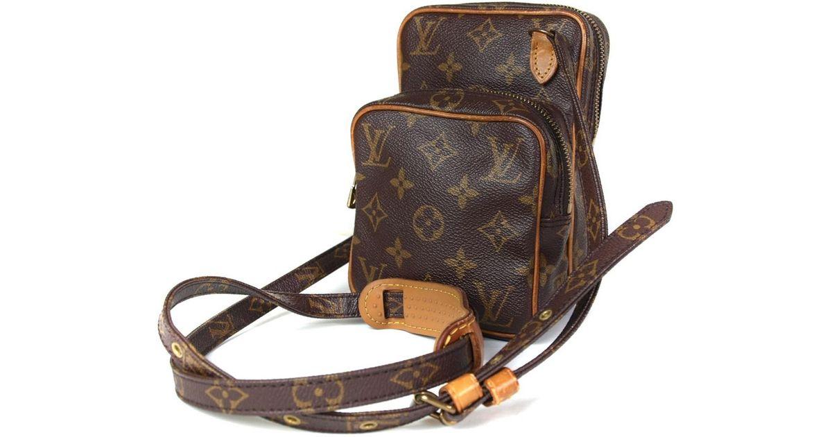 0741dc4c1284 Lyst - Louis Vuitton Auth Mini Amazon Monogram Canvas Leather Shoulder Bag  in Brown