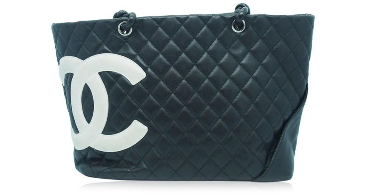 8330114f6195 Chanel Authentic Black Quilted Leather Cambon Large Shopper Tote Bag  06006818ck in Black - Lyst