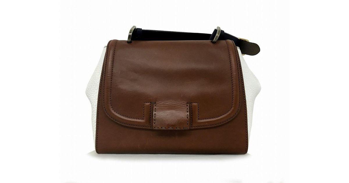 515e659d2e3d ... low cost lyst fendi auth calfskin silvana handbag brown white in white  491f8 dd867 ...
