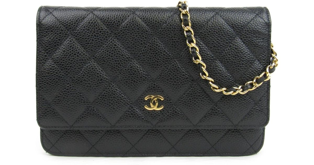 95d34a205c28 Lyst - Chanel Caviar Skin Leather Chain Wallet Shoulder Crossbody Bag Black  A33814 in Black