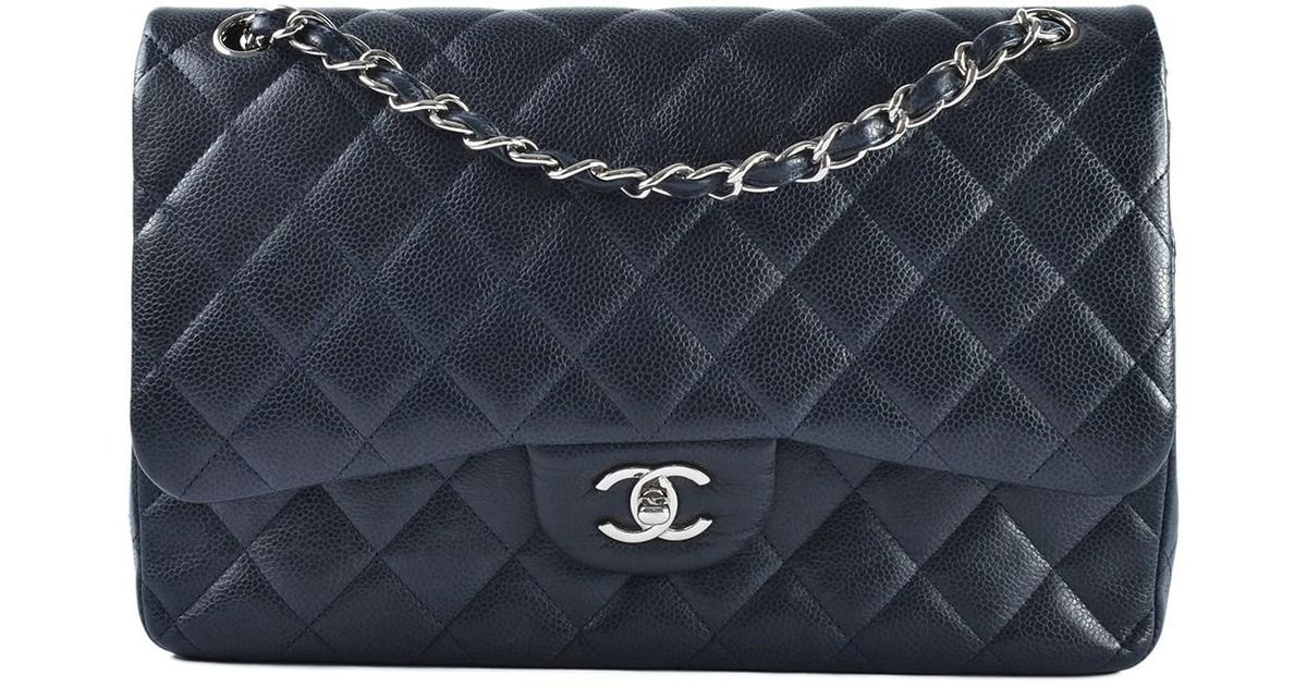 10f02d8e482d Chanel Classic Jumbo Quilted Caviar Navy Double Flap Shw in Black - Lyst