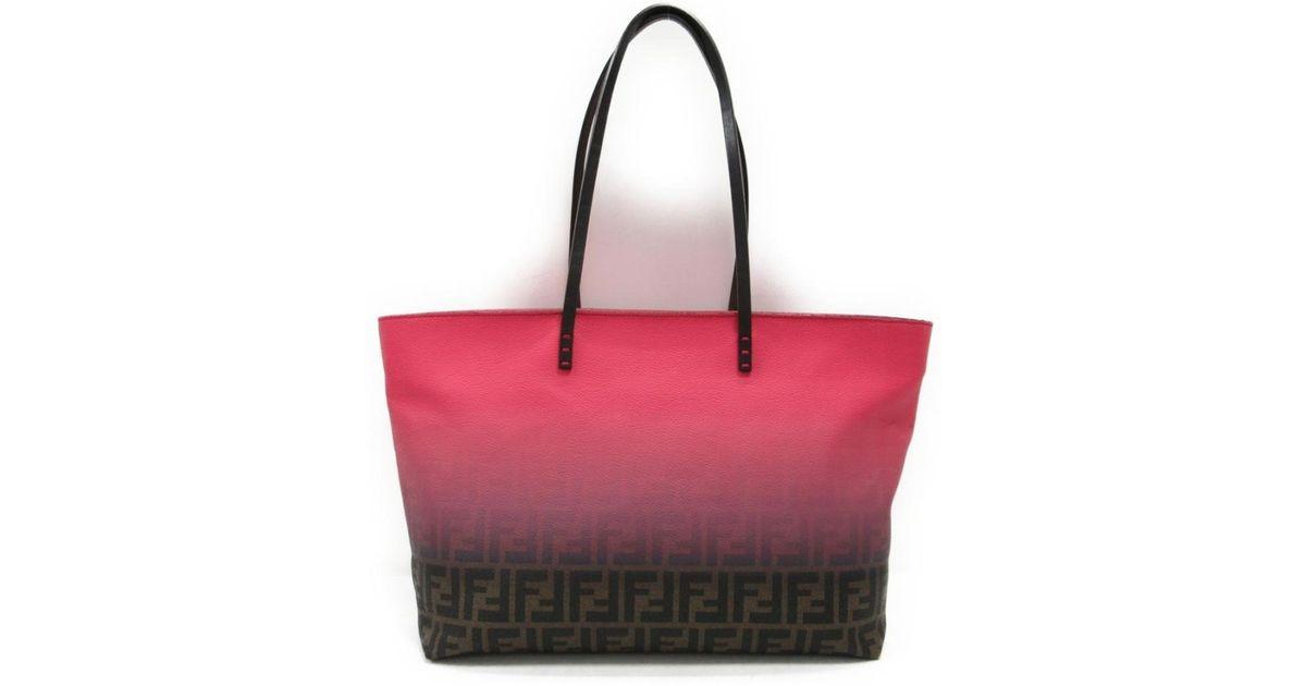 2f5d7185391c Lyst - Fendi Zucca Pattern Tote Bag 8 Bh 185 U 9 F Pvc X Leather Multicolor  in Red