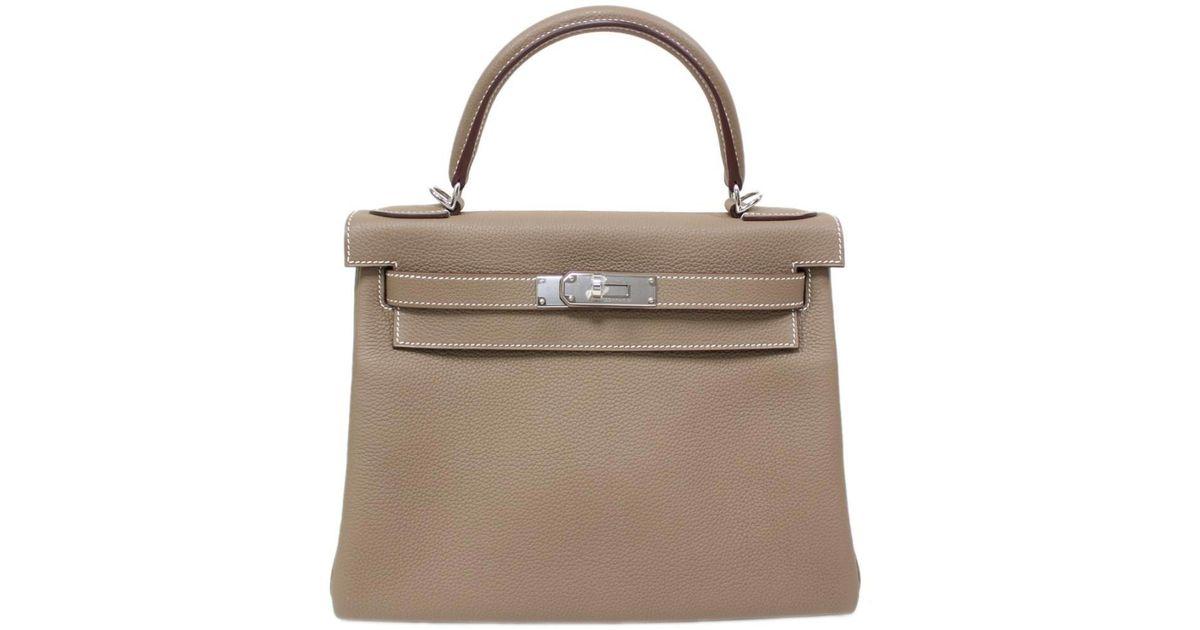 1b28880cc725 Lyst - Hermès Kelly 28 Handbag 2way Shoulderbag Togo Grey Shw New in Gray