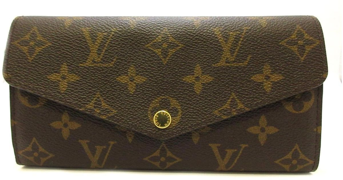 cb64e6ebeb2d Lyst - Louis Vuitton Portefeiulle Sarah Zip Long Wallet Monogram Canvas  M60531 in Brown