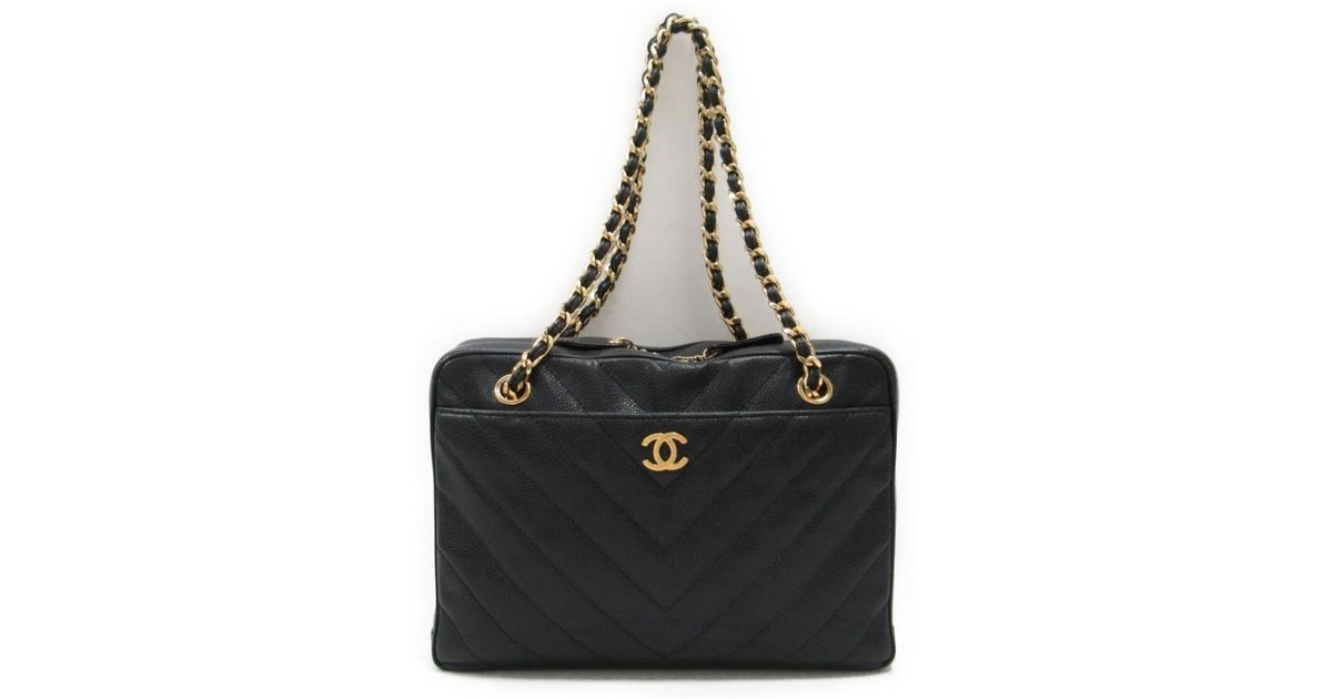 Lyst - Chanel V Stitch Chain Tote Shoulder Bag Caviar Skin Leather Cc  Quilted in Black f899a0ee8d6c6