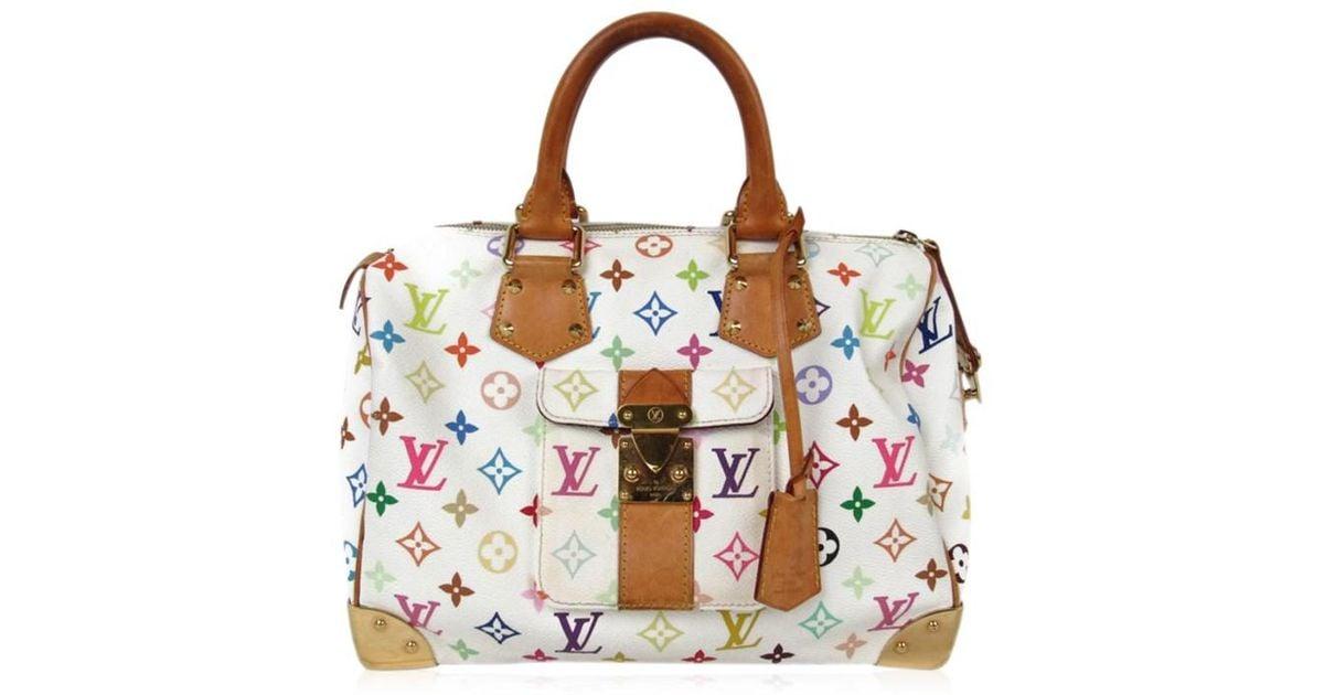 9dee8f55f085 Lyst - Louis Vuitton Speedy 30 Handbag M92643 Monogram Multicolor Blanc  White in White