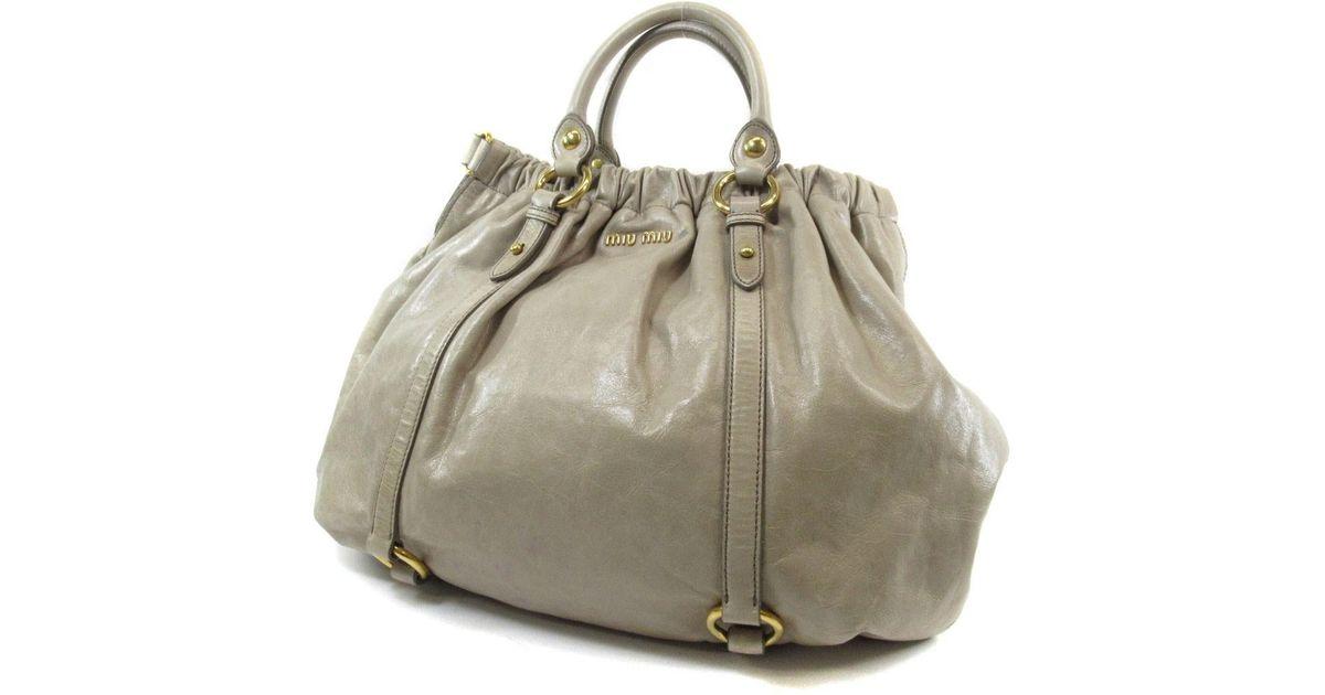5d7be0e412f Lyst - Miu Miu Miumiu Leather Tote Bag 2way in Natural