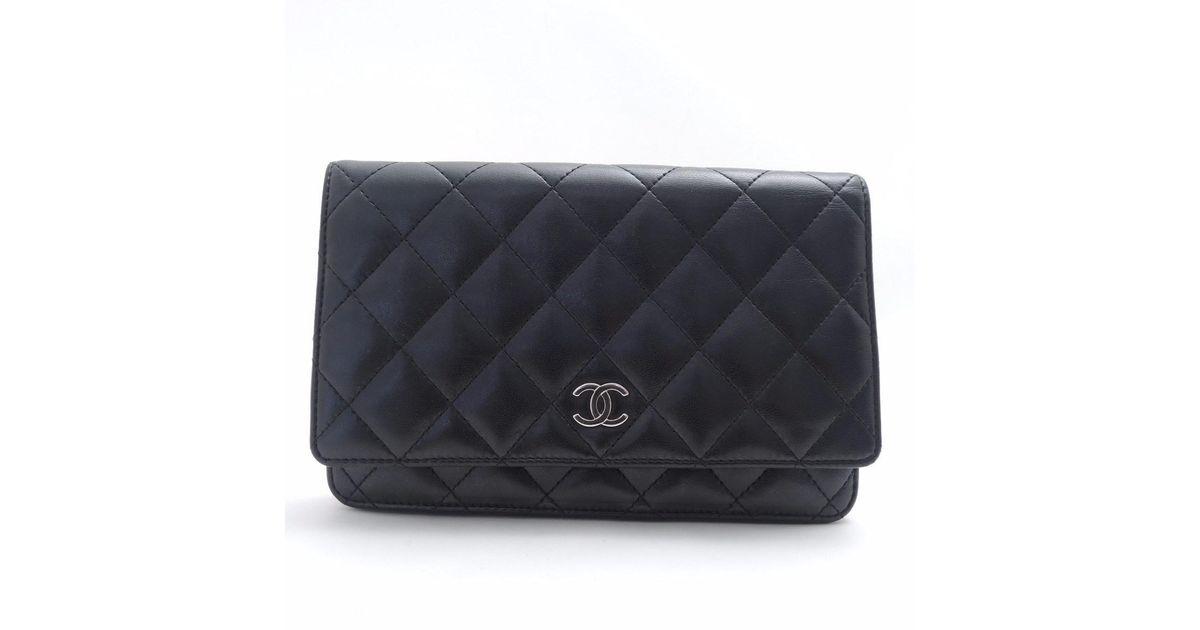 5d35218c747f Lyst - Chanel Lambskin Matelasse Folded Long Wallet Bifold Wallet With Coin  Pocket in Black