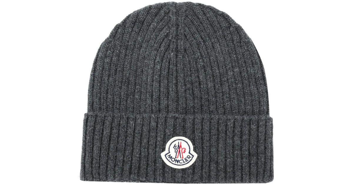 13e11492474de5 Moncler Ribbed Beanie Hat Dark Grey in Gray for Men - Lyst