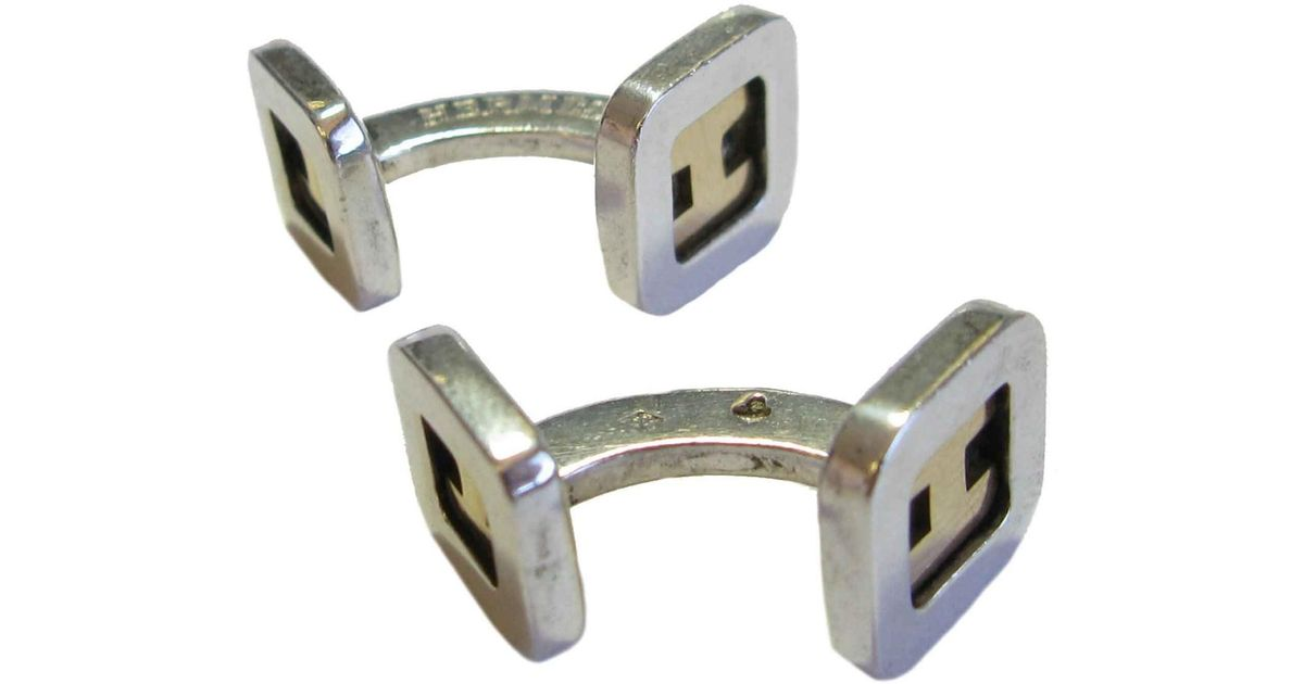 Lyst - Hermès Cufflinks In Sterling Silver And Gold H in Metallic for Men ed71f5dfbf2