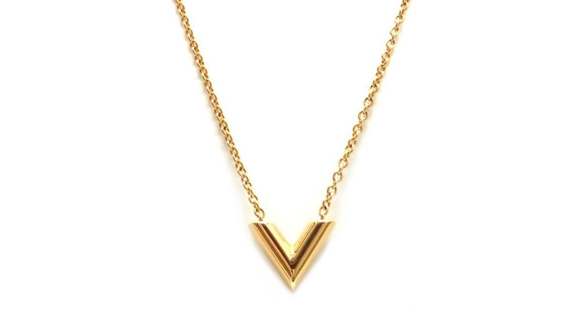 7f9498788ade Lyst - Louis Vuitton Essential V Necklace M 61083 Brass Plated Yellow Gold  in Metallic