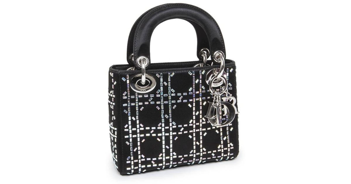 Lyst - Dior Christian Mini Lady D Evening Bag In Black Silk Satin Set With  Swarovski Sequins in Black 815bf2a449248